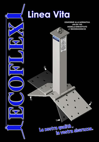 Linee Vita Sicurflex certificate CE in accaio zincato con piastre inclinabili
